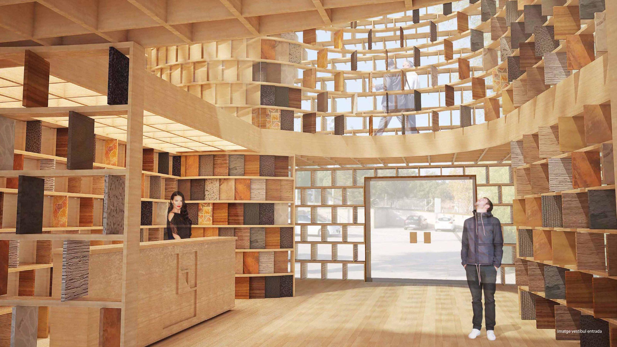 Imagen interior para la propuesta de un nuevo showroom para Lamigraf