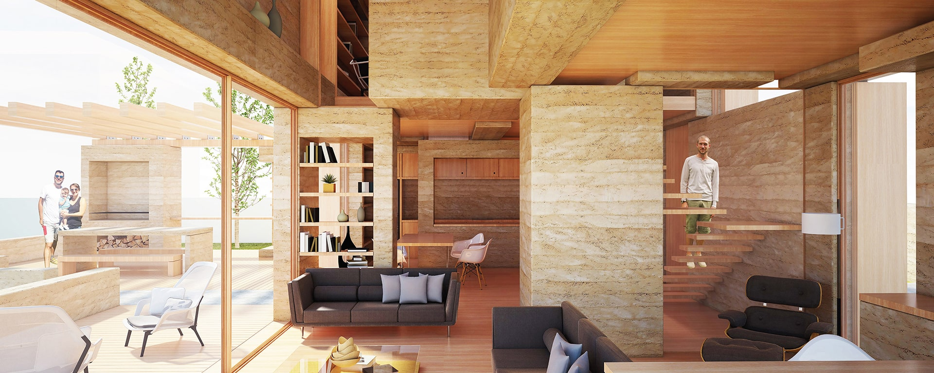 Sala de estar de la Casa apilada