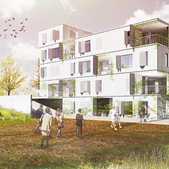 Fachada para la propuesta del edificio de viviendas matriz de patios