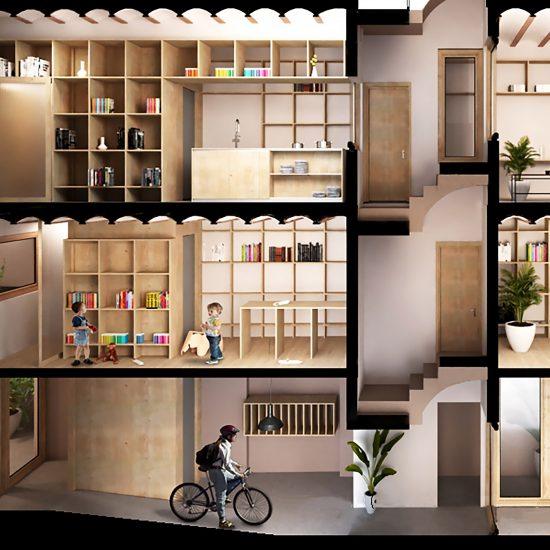Sección para la propuesta de rehabilitación de pisos con apoyo en Barcelona