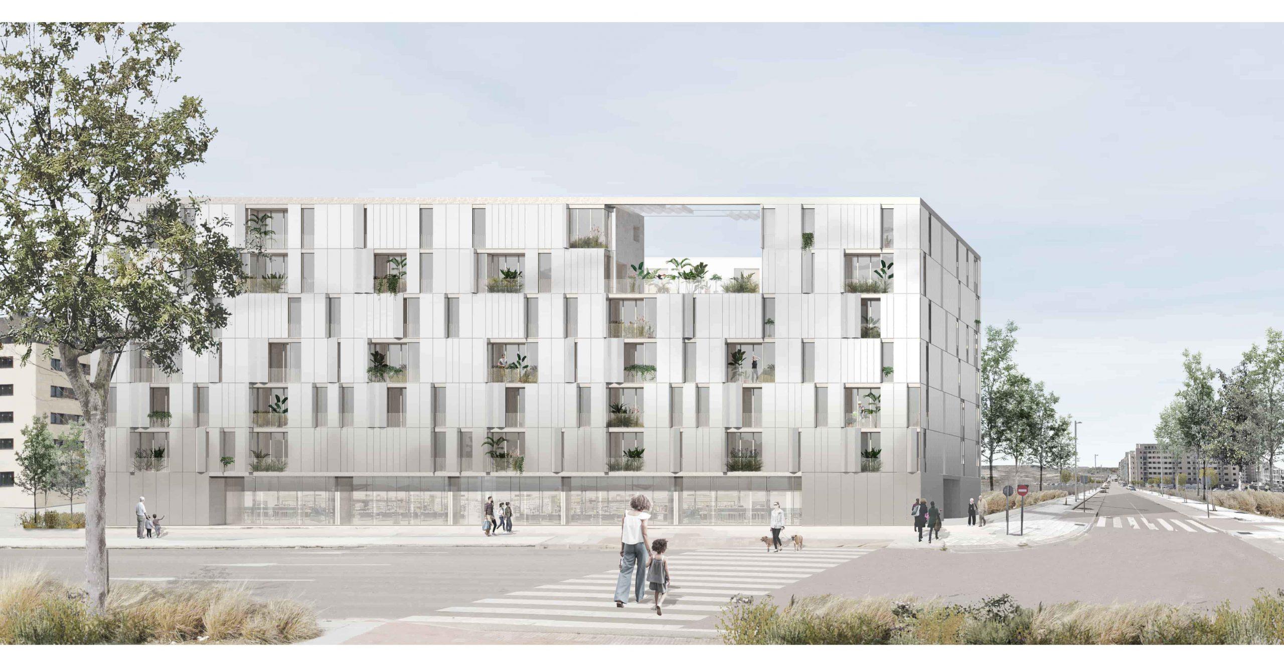 Fachada para la propuesta del edificio de viviendas en Cañaveral