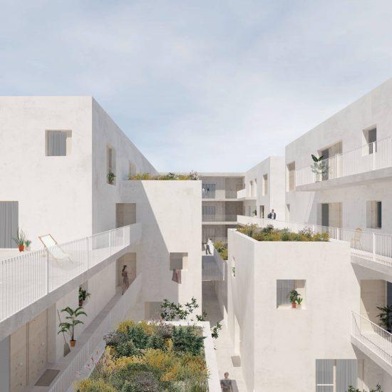 Patio interior para la propuesta de edificio de viviendas en Cañaveral