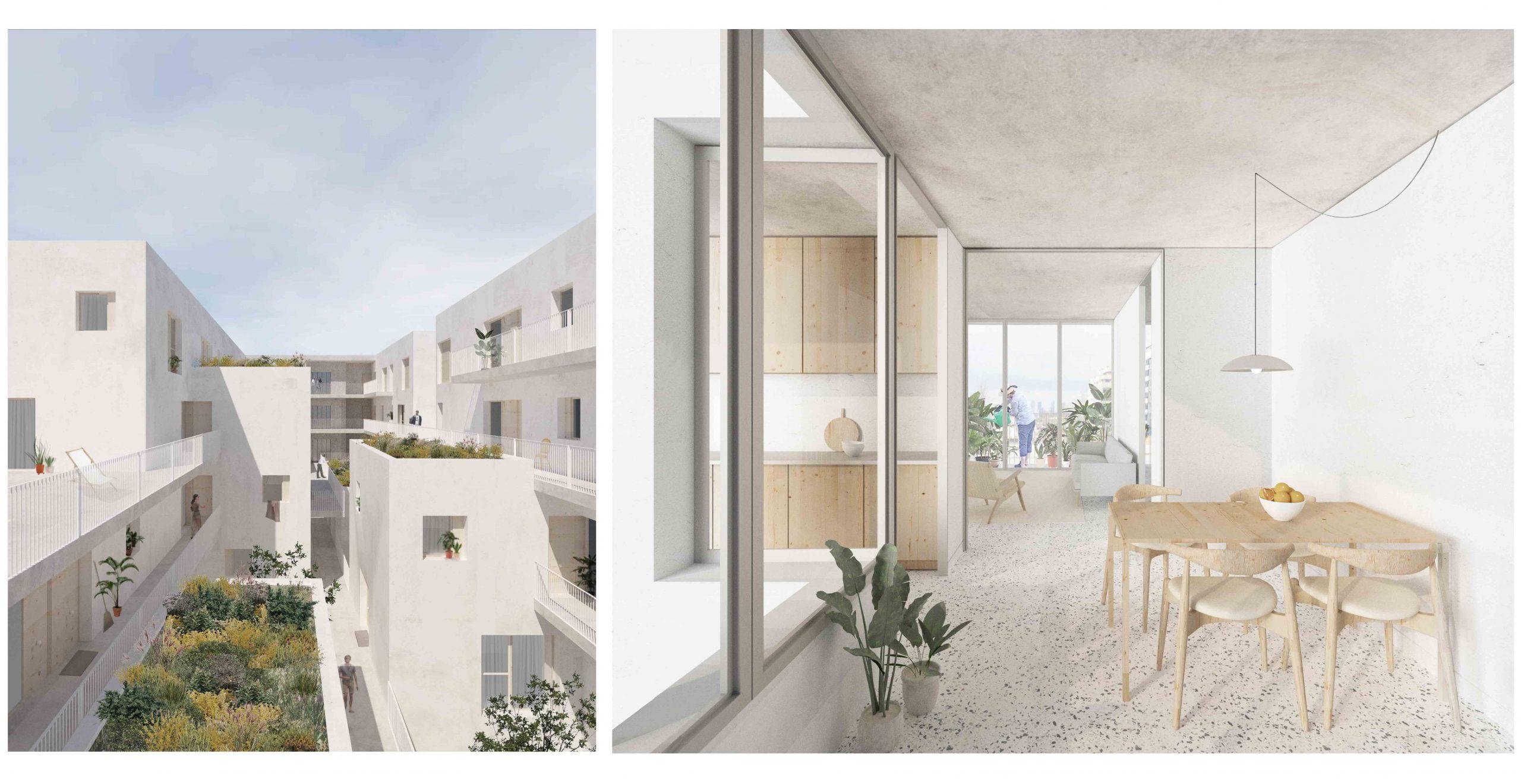 Imagen interior de una vivienda para la propuesta de edifico en Cañaveral